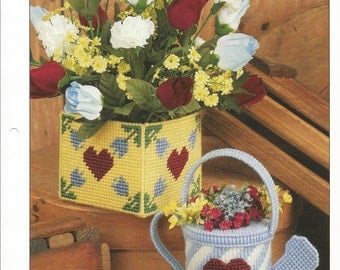 Country Containers, Plastic Canvas Pattern, Pitcher, Box, Annies International, Sewing Pattern, Sewing Supplies, Home Decor, Gift Idea,1995