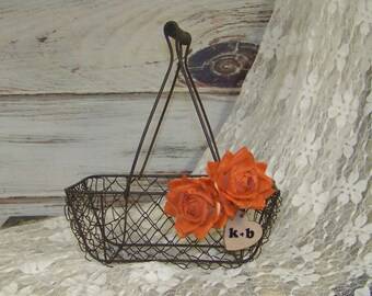 Rustic Flower Girl's Wedding Basket-Wedding Decor with Orange Paper Roses and Wooden Initial Heart
