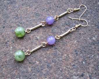 Eco-Friendly Dangle Earrings - My Year in Provence - Recycled Vintage Goldtone Metal Bars and Round Beads in Sage Green and Lavender