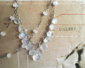 moonstone necklace sterling silver boho style yoga jewelry oxidized sterling silver