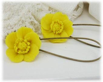 Yellow Buttercup Dangle Earrings - Buttercup Drop Earrings, Yellow Flower Earrings, Yellow Buttercup