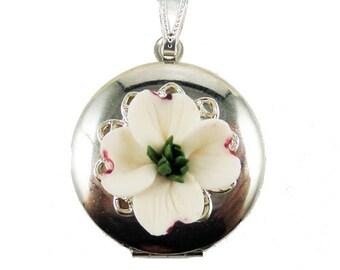Dogwood Locket Necklace - Dogwood Jewelry, White Dogwood Flower