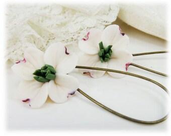 White Dogwood Dangle Earrings - Dogwood Drop Earrings