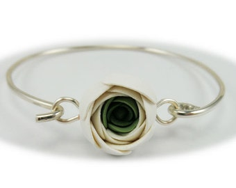 White Ranunculus Sterling Silver Bracelet - Ranunculus Jewelry Collection