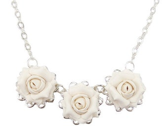 Three Rose Necklace - Trio Rose Jewelry , Roses Filigree Necklace