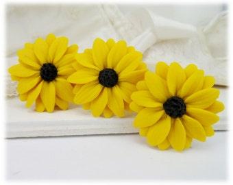 Black Eyed Susan Hair Pins - Black Eyed Susan Hair Accessories, Black Eyed Susan Wedding Hair Pins, Yellow Coneflower