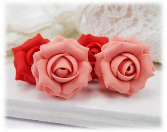Coral Rose Earrings Stud or Clip On - Coral Flower Earrings