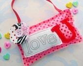 Love U Fabric Hanging Valentine Ornament