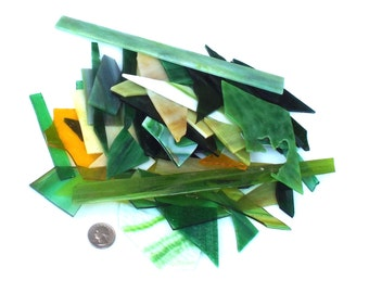 Stained Glass Scraps Green Mix Yellow For Mosaics Kiln Work Art Crafts Opaque Glass Craft Supply Art Glass Sun Catcher 2 Pounds two lb
