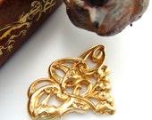 BRASS Victorian Scrolling Flowers Brass Stampings - Jewelry Findings (FB-6103) #
