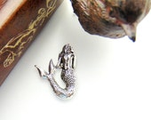SILVER 2 -  MERMAID With Hole Silver Ox Brass Stampings - Jewelry Ornament Findings (D-6) #