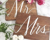 "Mr and Mrs - set of 2 8x10"" wood signs"