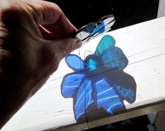 SALE - Stained Glass Flower Suncatcher in Beautiful Blue and Turquoise