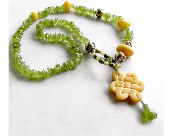 Green Peridot Necklace- Ethnic Boho August Birthstone Luxe Gemstones Baltic Amber Carved Yellow Jade