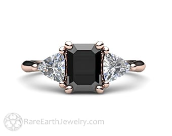 Black Spinel Engagement Ring 3 Stone Vintage Black Spinel Ring Unique Engagement