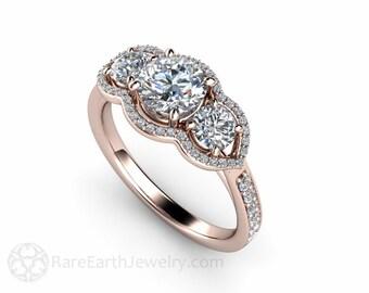 moissanite engagement ring 3 stone diamond halo forever one moissanite ring 14k or 18k conflict free - Moissanite Wedding Rings