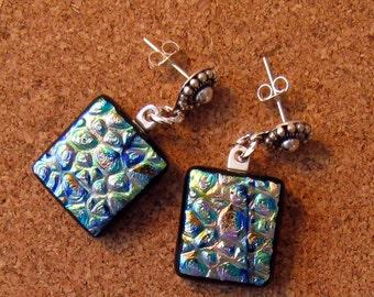 Dichroic Earrings - Post Earrings - Fused Glass Earrings - Dichroic Jewelry - Fused Glass Jewelry - Glass Earrings