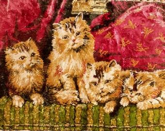 Vintage velvet Kittens cats tapesty