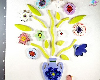 Mix of Flower in a  BOUQUET - Kiln Fired Handmade Ceramic Mosaic Tiles M3425