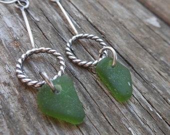 Long Green Sea Glass Earrings