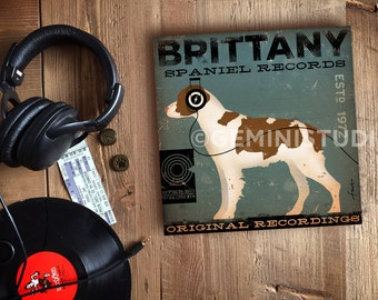 Brittany Spaniel Records original graphic illustration artwork on canvas panel by Stephen Fowler