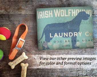 Irish Wolfhound dog Laundry Company illustration graphic art on gallery wrapped canvas by stephen fowler