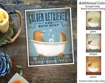 Golden Retriever dog bath soap Company vintage style artwork by Stephen Fowler Giclee Signed Print UNFRAMED