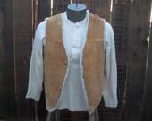 70s Leather Vintage Vest brown Suede shearling fake fur Lumberjack 70s sherpa vest S