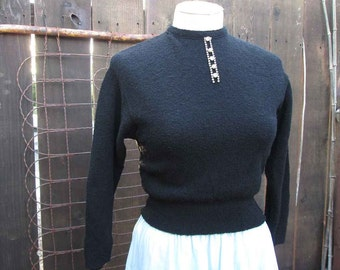50s Black vintage sweater Kimberly rhinestone sweater 50s Black wool pullover shorter style vintage pullover S M
