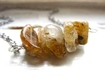 Rutilated Quartz Crystal Necklace, Stone Necklace, Handmade Artisan Birthstone Jewelry, Rutilated Quartz , Rutilated Quartz Jewelry