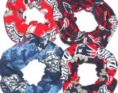 New England Patriots Fabric Hair Scrunchies by Sherry NFL Football Red Blue Tie dyed