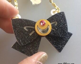 Sailor Moon bow glitter black laser cut necklace