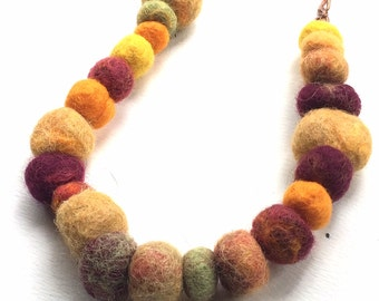Funky Felted Fiber Necklace in Autumn Golds, Reds, Yellows