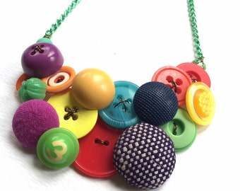 Number 3 Funky Chunky Colorful Multicolor Vintage Button Necklace