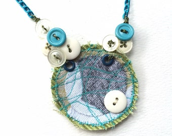 Stitched Fabric and Vintage Buttons Art Necklace in White, Aqua Blue, and Lime Green
