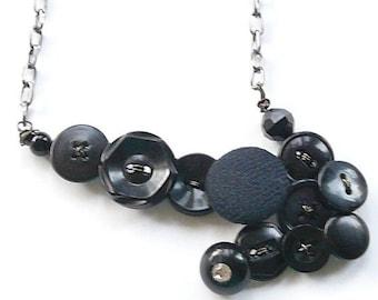 Christmas in July Sale Black Arrow Vintage Button Statement Necklace