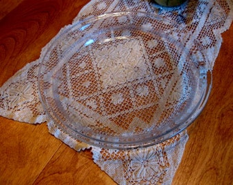 Vintage Fire King Embossed Glass Pie Plate