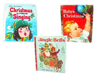 Little Golden Book Lot of 3 Vintage Christmas Books, Childrens Story Books, Baby's Christmas, Jingle Bells, Christmas is a Time for Singing