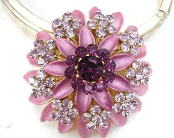 "Cushion Flower Brooch, Purple and Lavender Rhinestones, Tiered Enameled Petals, 1-1/2"" Wide, Vintage Costume Jewelry, c1980-90"
