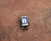 Medium Watch Face with Vintage feel in Brushed Silver. Ribbon Bar Watch Face, Rectangular shaped watch