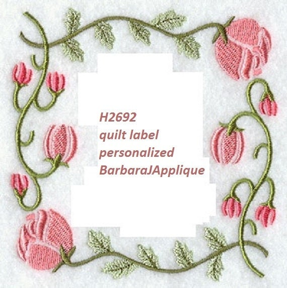 Quilt Label H2692 Machine Embroidered Personalized