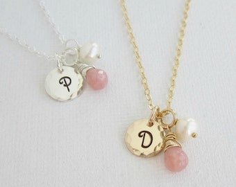 October birthstone necklace, personalized pink opal necklace, custom initial, sterling silver monogram, silver necklace, freshwater pearl