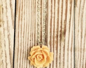 Apricot Rose Statement Necklace ~ Retro Rose Pendant ~ Peach Flower Glamour Fashion Necklace ~ Gift for a Friend~
