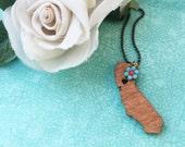 Wood California Necklace~ Vacation Keepsake Jewelry~California Girls Necklace~Moving Away Gift~CA Souvenir Pendant~Destination Wedding Gift