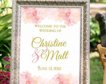 Blush and gold Wedding Sign, Large Custom Wedding Sign Printable, Hashtag Wedding Sign, Romantic Wedding, Vintage, Welcome Sign