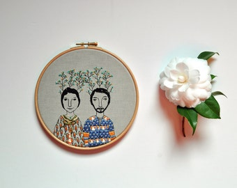 hand embroidery wall hanging - Twig Couple XIV