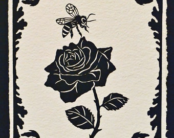 Sale 20% Off // The BEE and The ROSE Papercut - Hand-Cut Silhouette // Coupon Code SALE20