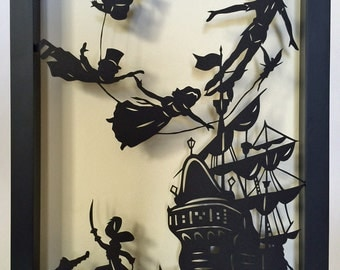 Sale 20% Off // PETER PAN Papercut in Shadow Box - Hand-Cut Silhouette, Framed // Coupon Code SALE20