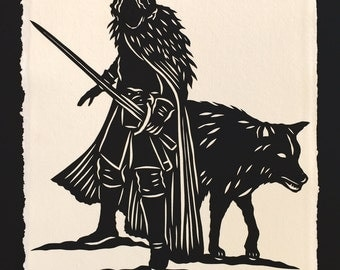 Sale 20% Off // Game of Thrones - Jon Snow Papercut - Hand-Cut Silhouette Papercut // Coupon Code SALE20