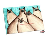 Siamese Cat Art Silly Sealpoint Siamese Kitties Aqua Turquoise Blue Abstract Fun Feline Cat Art ACEO Print by Denise Every
